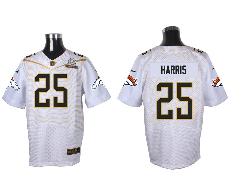 Nike Broncos 25 Chris Harris Jr White 2016 Pro Bowl Elite Jersey