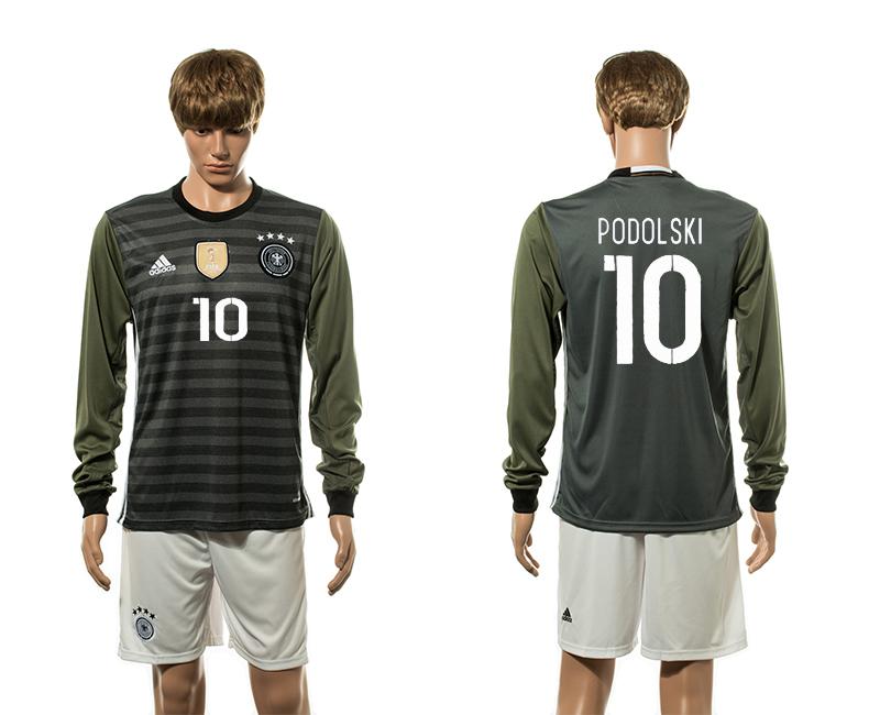 Germany 10 PODOLSKI Away UEFA Euro 2016 Long Sleeve Jersey