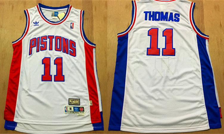 Pistons 11 Isiah Thomas White Hardwood Classics Swingman Jersey