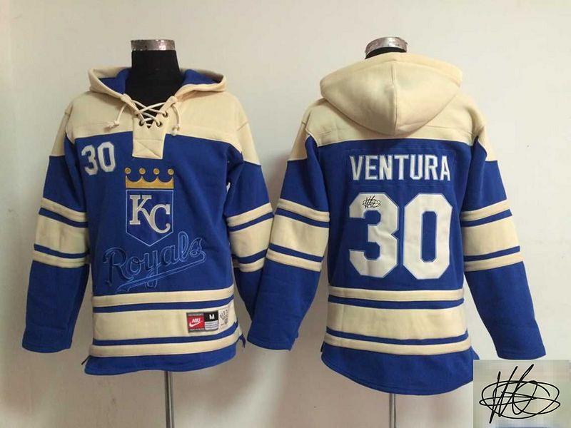 Royals 30 Yordano Ventura Royal Blue Signature Edition All Stitched Hooded Sweatshirt