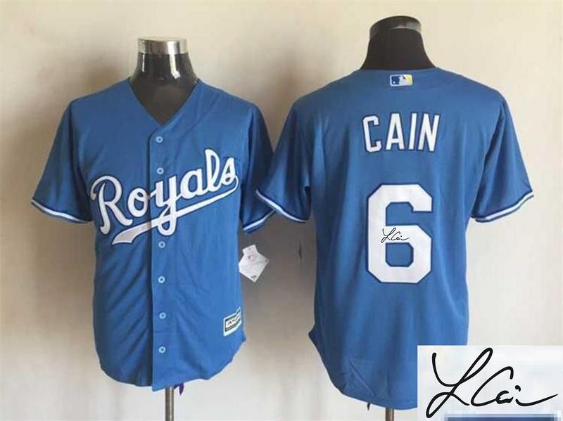 Royals 6 Lorenzo Cain Light Blue Signature Edition New Cool Base Jersey
