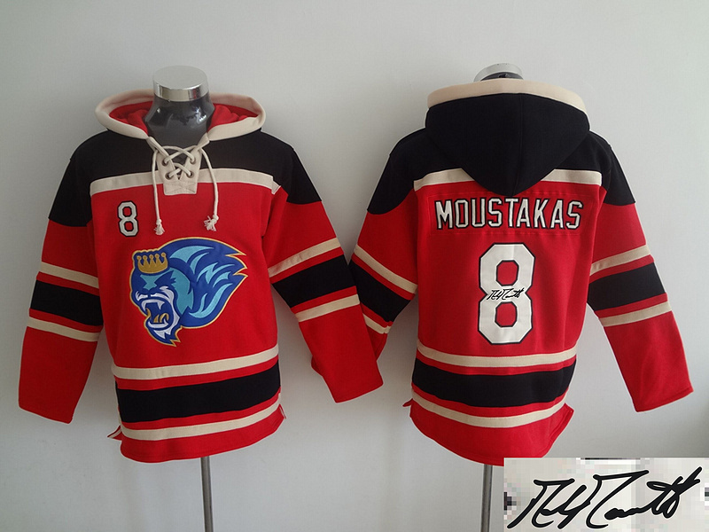 Royals 8 Mike Moustakas Red Signature Edition All Stitched Hooded Sweatshirt
