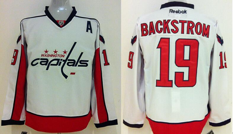 Capitals 19 Nicklas Backstrom White Reebok Jersey