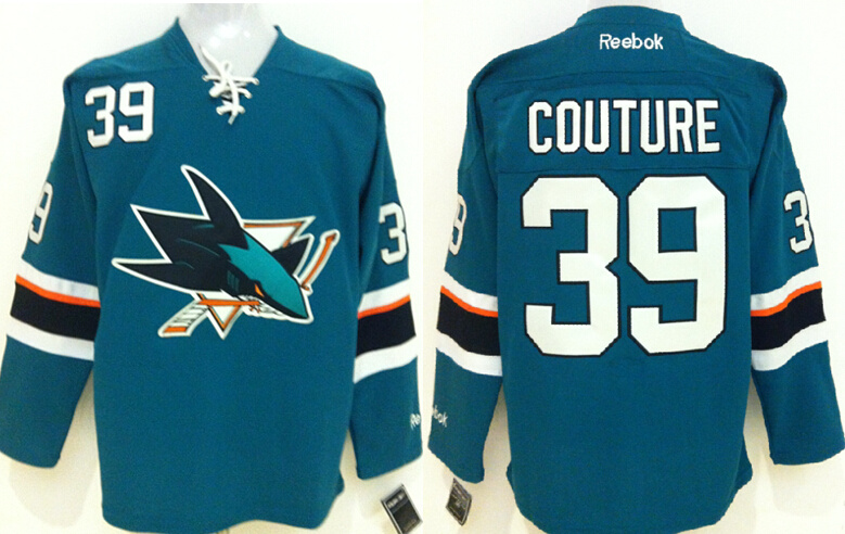 Sharks 39 Logan Couture Teal Reebok Jersey