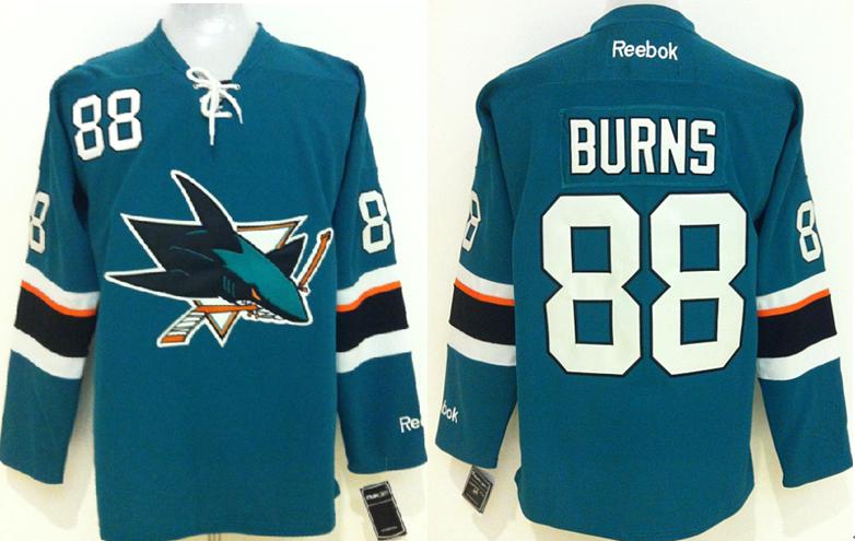 Sharks 88 Brent Burns Teal Reebok Jersey