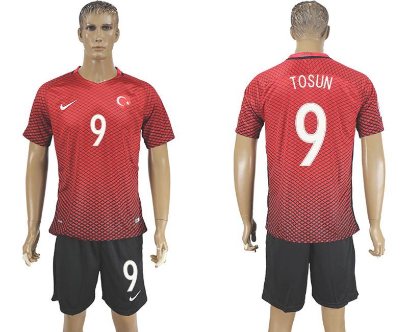 Turkey 9 TOSUN Home UEFA Euro 2016 Soccer Jersey