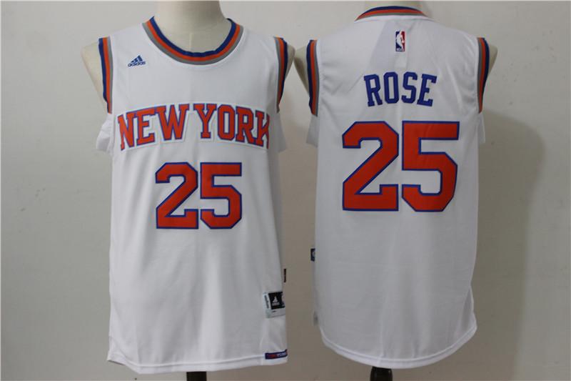 Knicks 25 Derrick Rose White Swingman Jersey