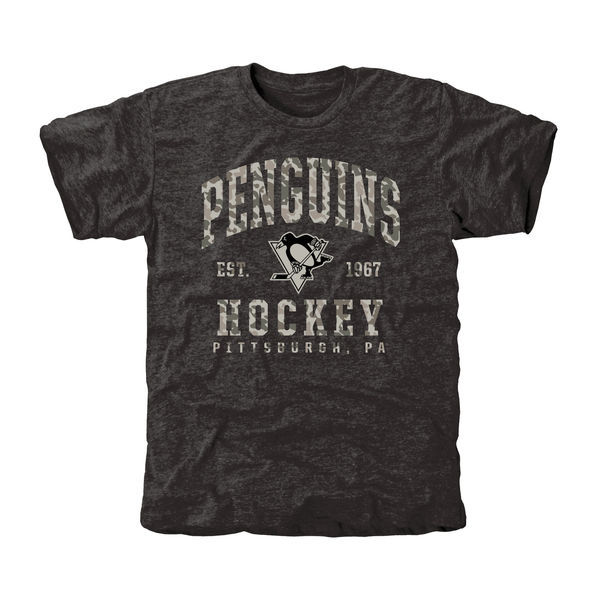 Pittsburgh Penguins Grey Camo Logo Short Sleeve Men's T-Shirt