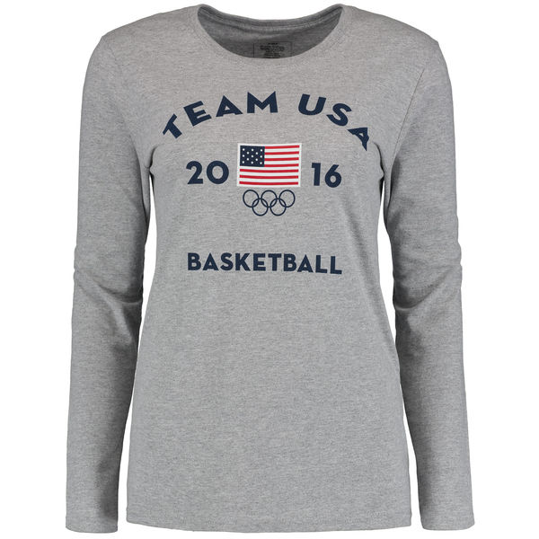 Team USA Basketball Women's Long Sleeve Very Official National Governing Bodies T-Shirt Gray
