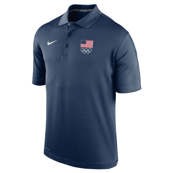 Team USA Nike 5 Rings Varsity Performance Polo Navy