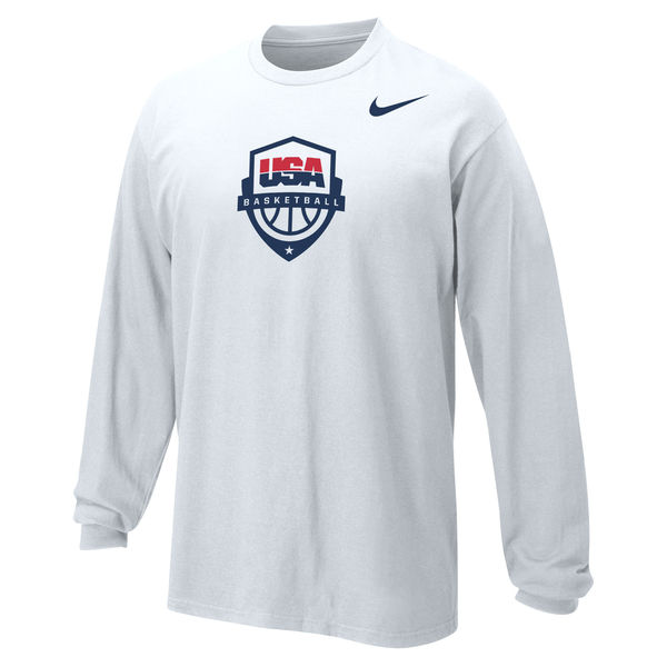 Team USA Nike Youth Basketball Core Long Sleeve T-Shirt White