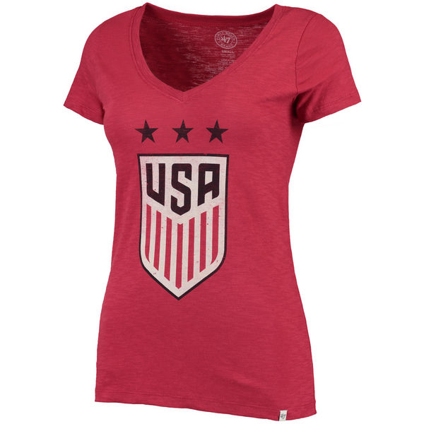 US Women Soccer '47 Three Stars Scrum V Neck T-Shirt Red