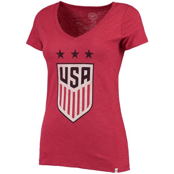 US Women Soccer '47 Three Stars Scrum V Neck T-Shirt Red