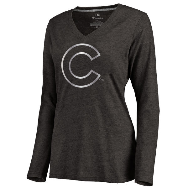 Chicago Cubs Women's Platinum Collection Long Sleeve V Neck Tri Blend T Shirt Black