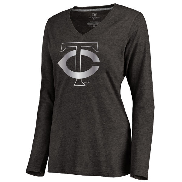 Minnesota Twins Women's Platinum Collection Long Sleeve V Neck Tri Blend T Shirt Black