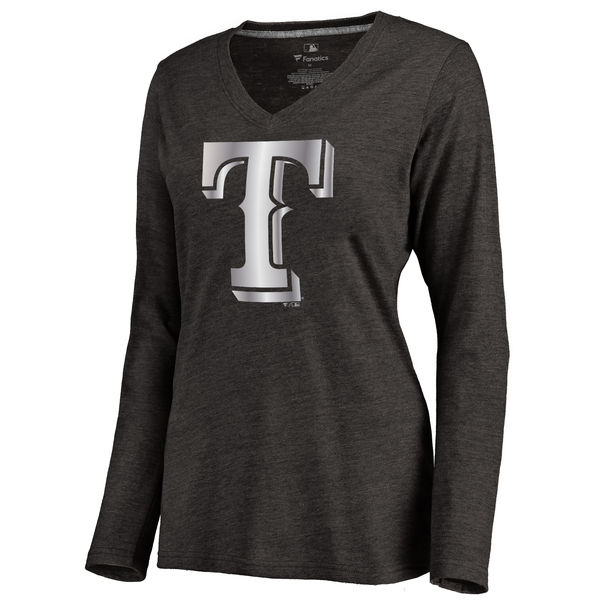 Texas Rangers Women's Platinum Collection Long Sleeve V Neck Tri Blend T Shirt Black
