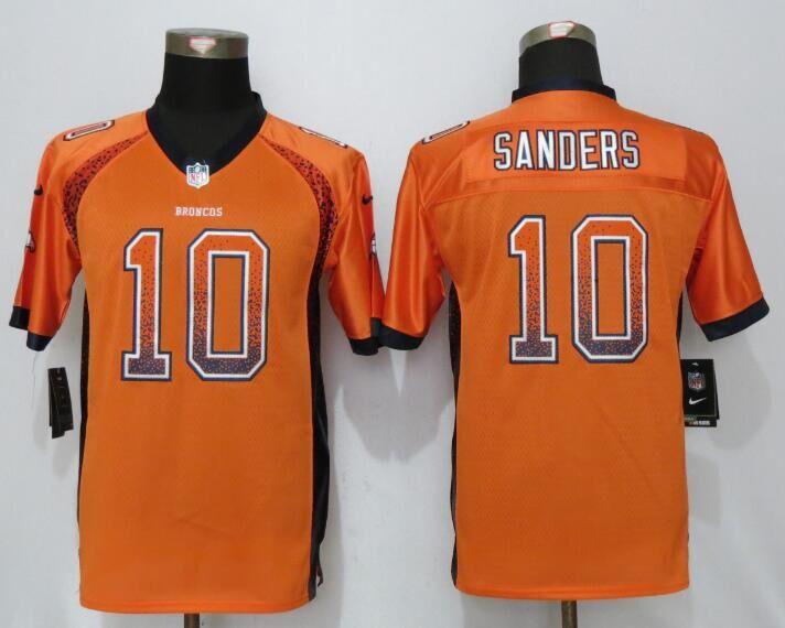 Nike Broncos 10 Emmanuel Sanders Orange Youth Drift Fashion Jersey