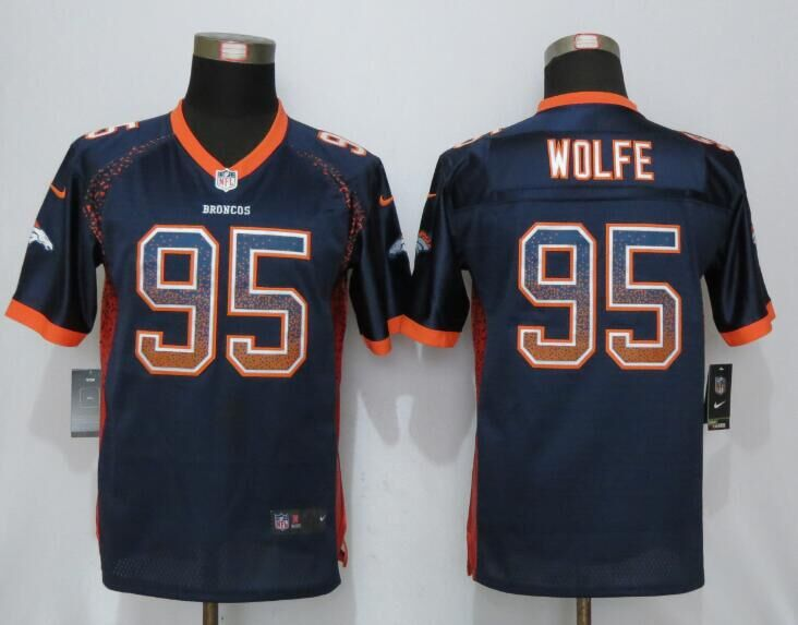 Nike Broncos 95 Derek Wolfe Blue Youth Drift Fashion Jersey