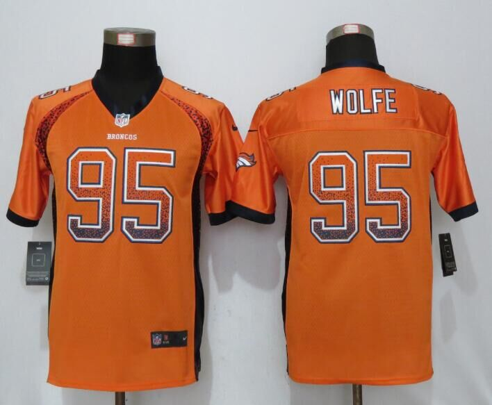 Nike Broncos 95 Derek Wolfe Orange Youth Drift Fashion Jersey
