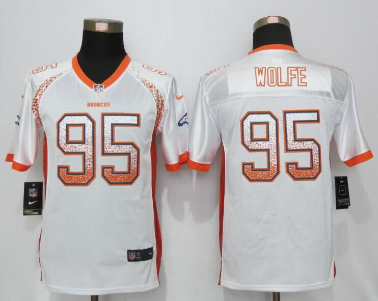 Nike Broncos 95 Derek Wolfe White Youth Drift Fashion Jersey