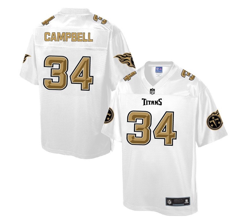 Nike Titans 34 William Campbell Pro Line White Gold Collection Elite Jersey