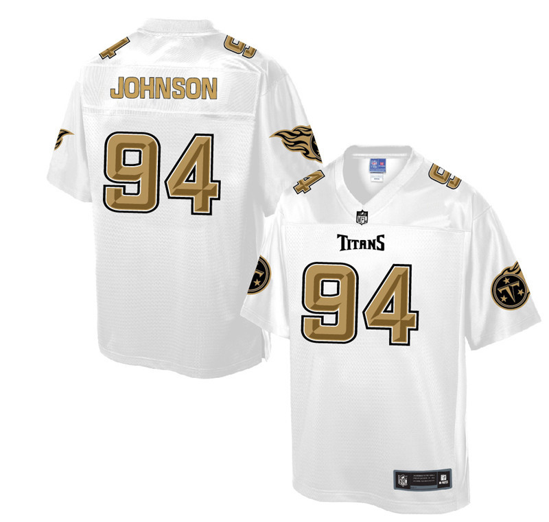 Nike Titans 94 Austin Johnson Pro Line White Gold Collection Elite Jersey