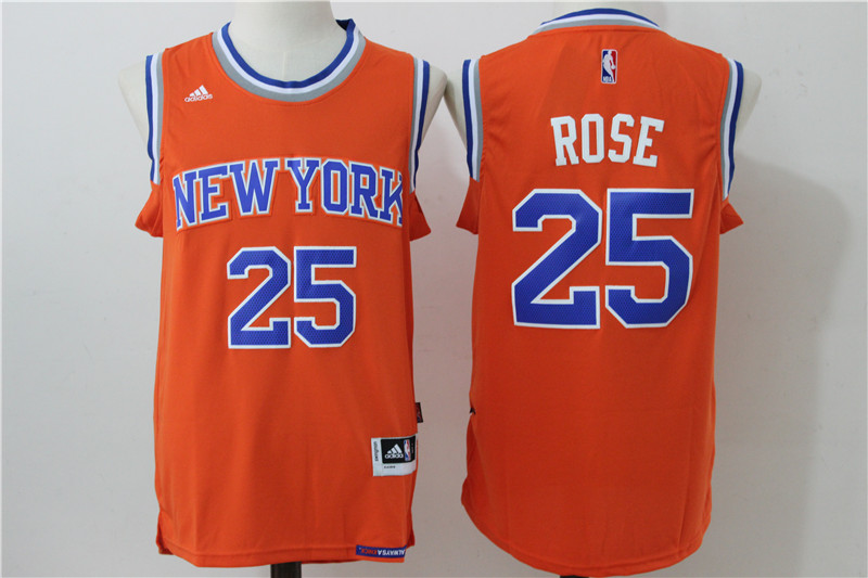 Knicks 25 Derrick Rose Orange Swingman Jersey