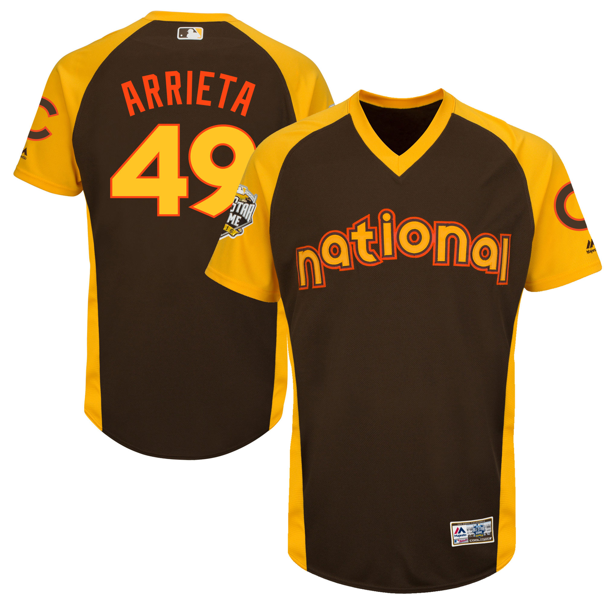 Cubs 49 Jake Arrieta Brown Youth 2016 All-Star Game Cool Base Batting Practice Player Jersey