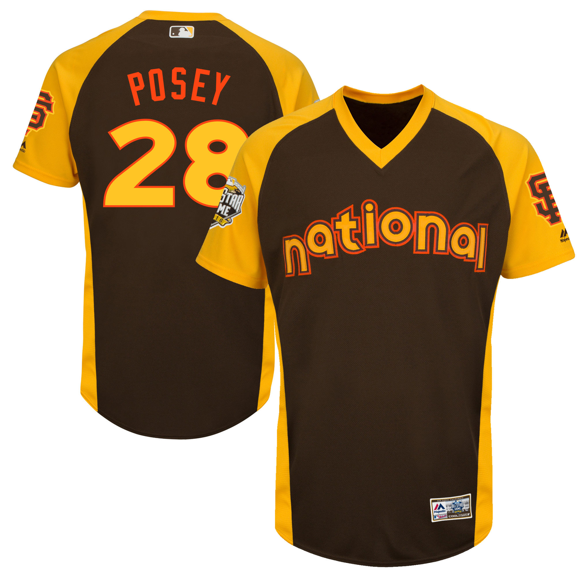 Giants 28 Buster Posey Brown Youth 2016 All-Star Game Cool Base Batting Practice Player Jersey