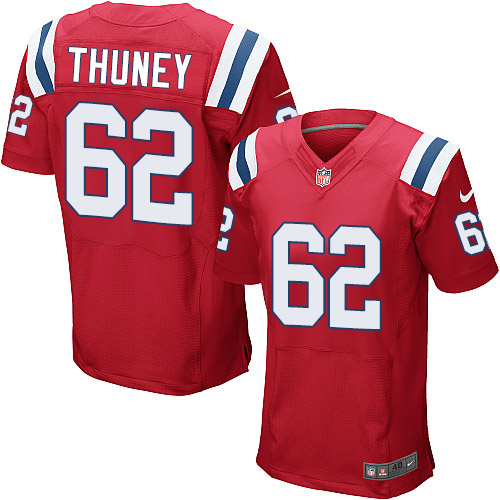 Nike Patriots 62 Joe Thuney Red ELite Jersey