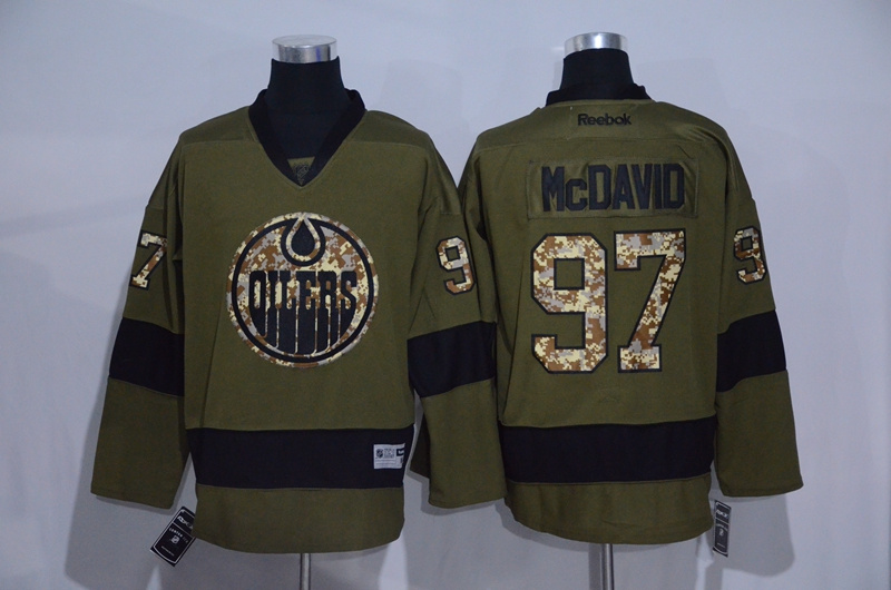 Oilers 97 Connor McDavid Green Salute To Service Reebok Jersey