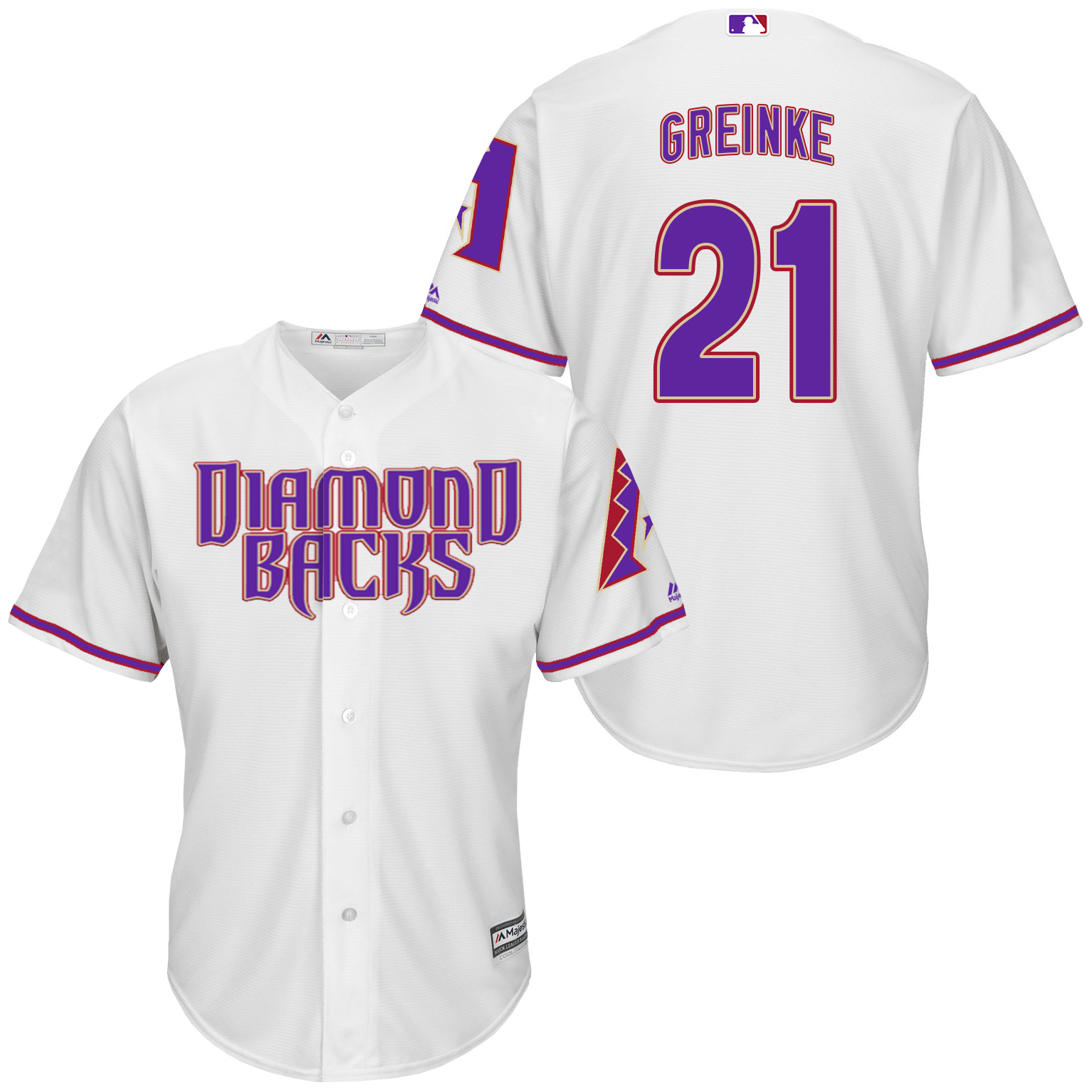 Diamondbacks 21 Zack Greinke White Purple New Cool Base Jersey
