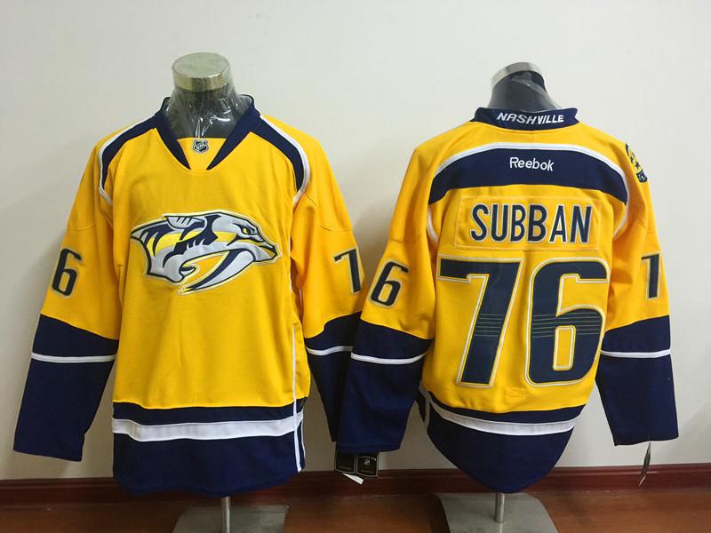 Predators 76 P.K. Subban Gold Reebok Jersey