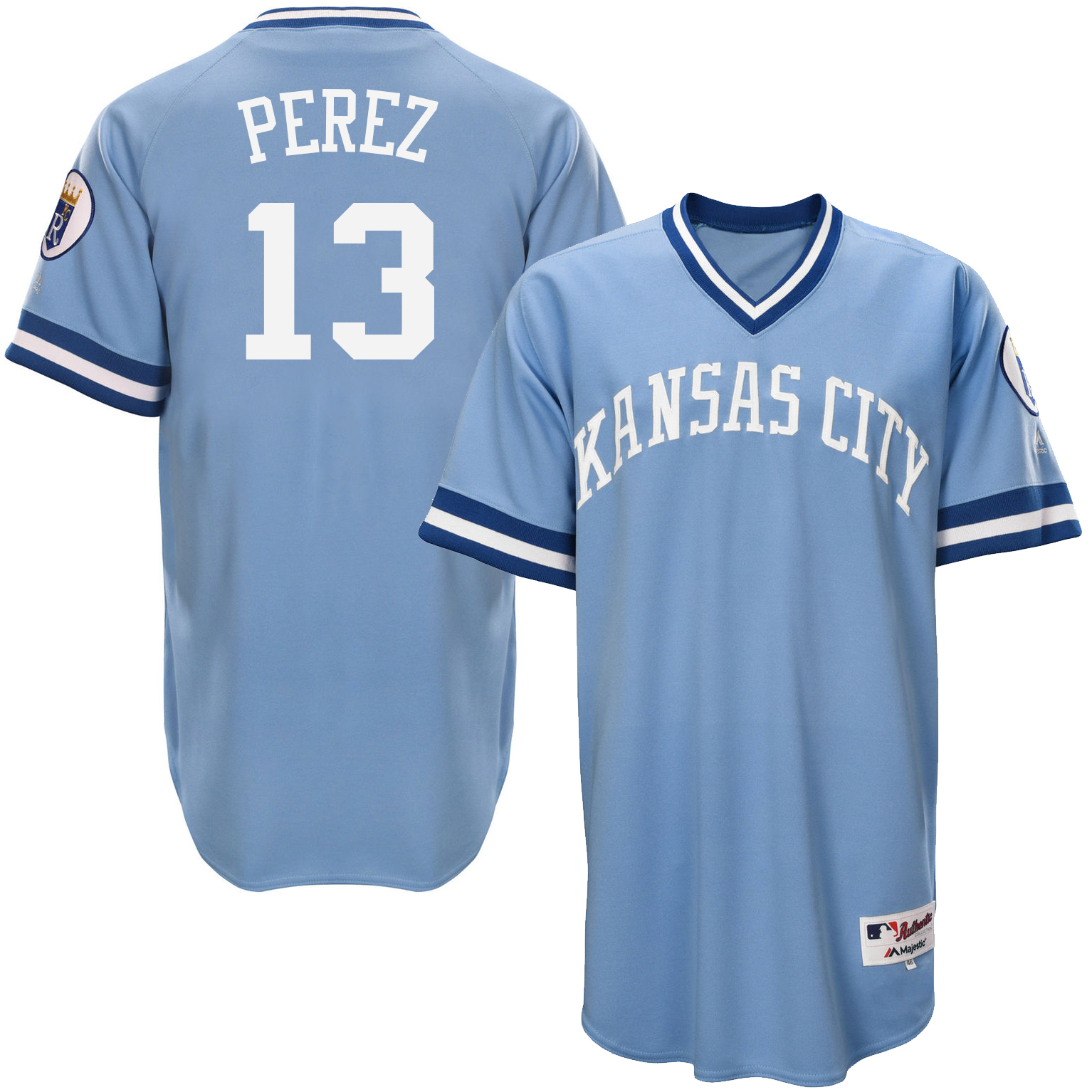 Royals 13 Salvador Perez Light Blue Throwback Jersey