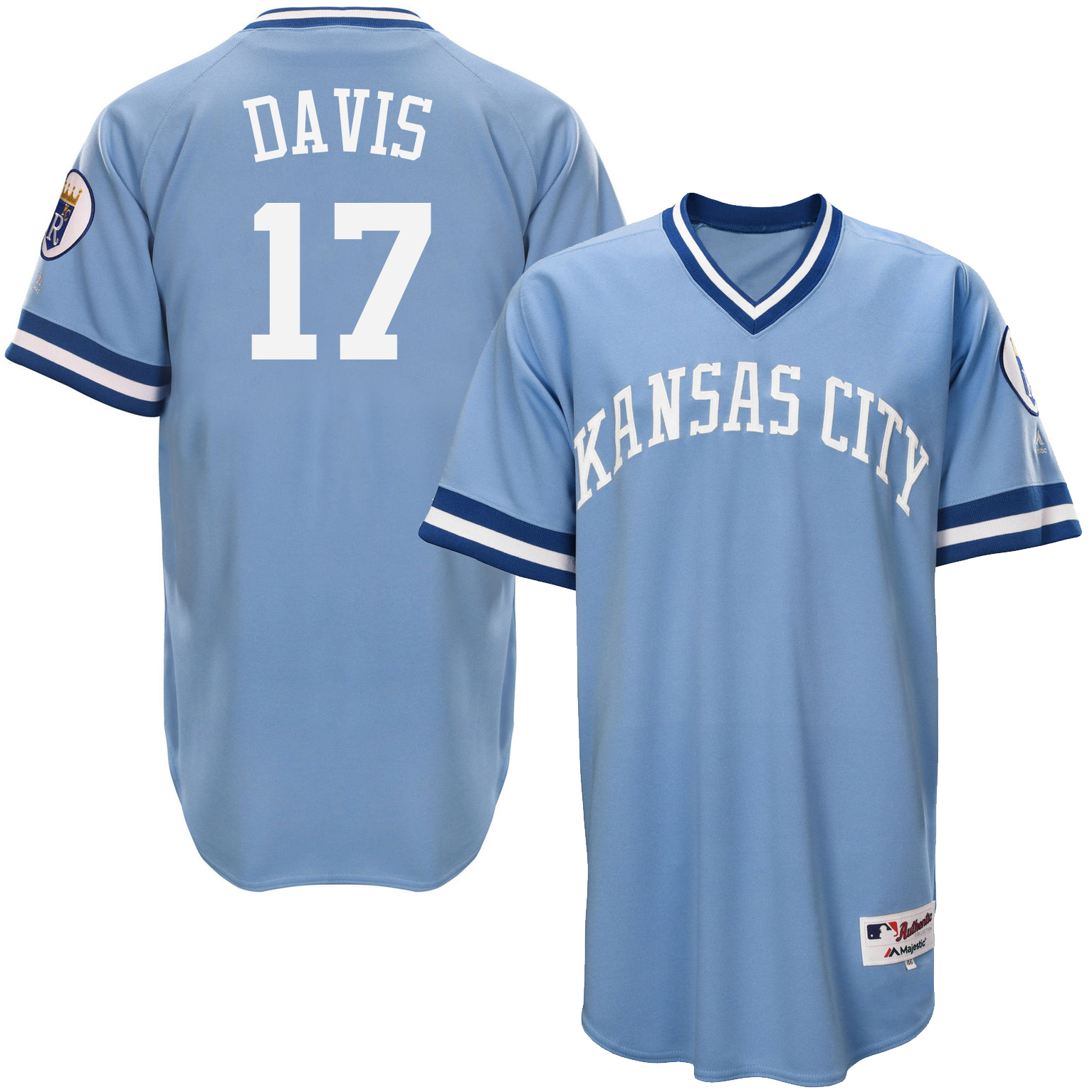 Royals 17 Wade Davis Light Blue Throwback Jersey