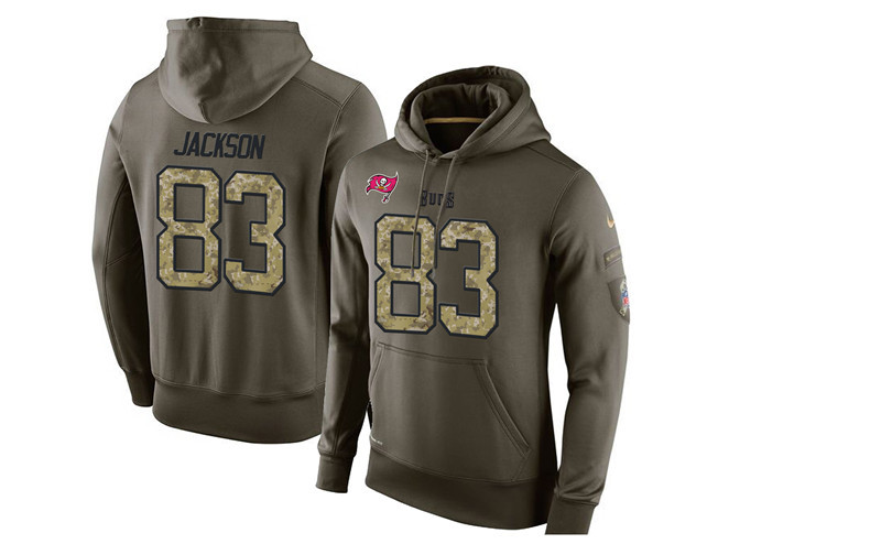 Nike Buccaneers 83 Vincent Jackson Olive Green Salute To Service Pullover Hoodie
