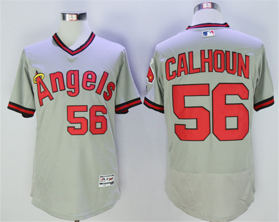 Angels 56 Kole Calhoun Grey Throwback Flexbase Jersey