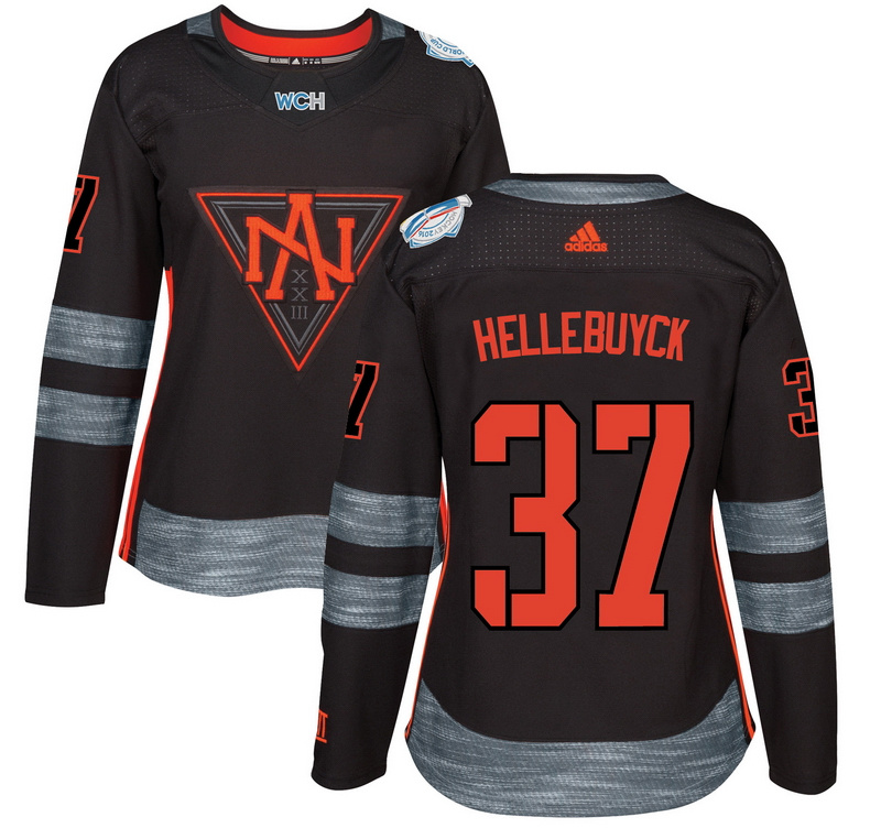 North America 37 Connor Hellebuyck Black Women World Cup of Hockey 2016 Player Jersey