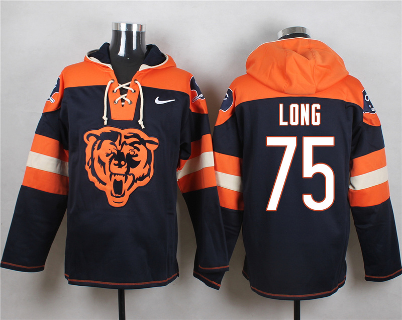 Nike Bears 75 Kyle Long Navy Hooded Jersey