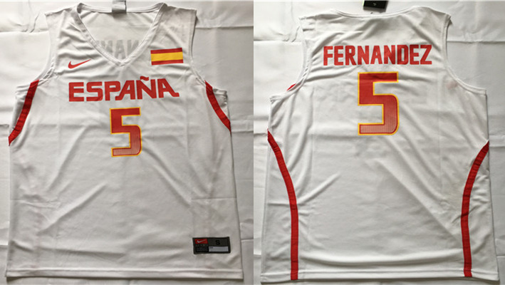 Spain Basketball 5 Rudy Hernandez White Nike Rio Elite Stitched Jersey