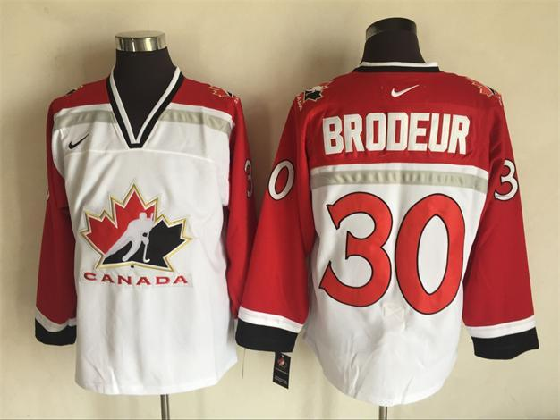 Team Canada 30 Martin Brodeur White 2002 Olympics Nike Hockey Jersey