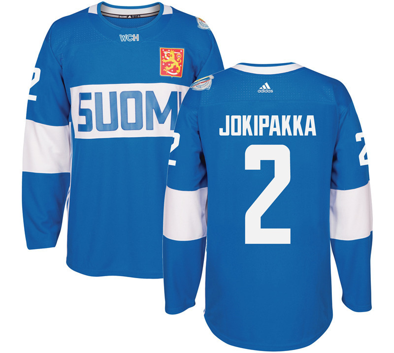 Finland 2 Jyrki Jokipakka Blue 2016 World Cup Of Hockey Premier Player Jersey
