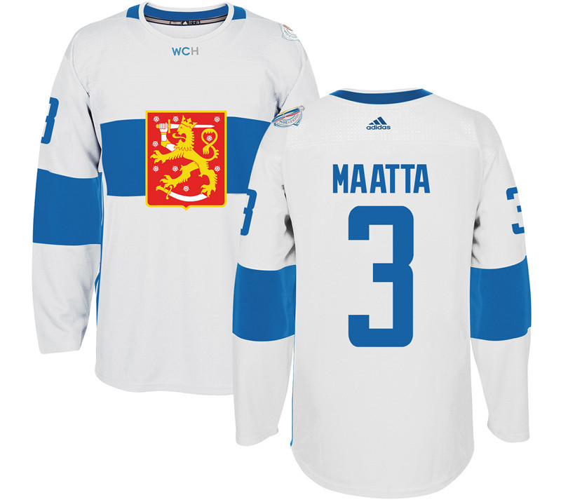 Finland 3 Olli Maatta White 2016 World Cup Of Hockey Premier Player Jersey