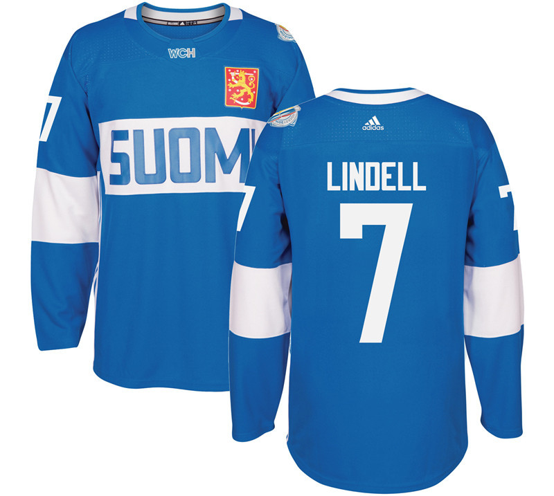 Finland 7 Esa Lindell Blue 2016 World Cup Of Hockey Premier Player Jersey