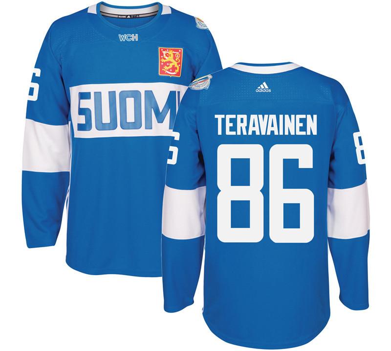 Finland 86 Teuvo Teravainen Blue 2016 World Cup Of Hockey Premier Player Jersey