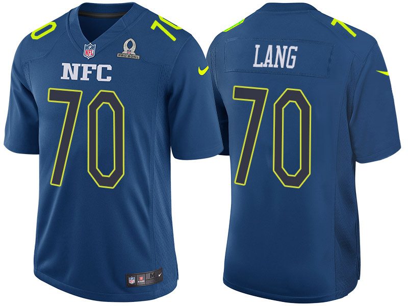 Nike Packers 70 T.J. Lang Blue 2017 Pro Bowl Game Jersey