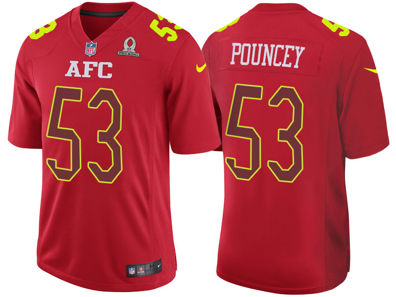 Nike Steelers 53 Maurkice Pouncey Red 2017 Pro Bowl Game Jersey