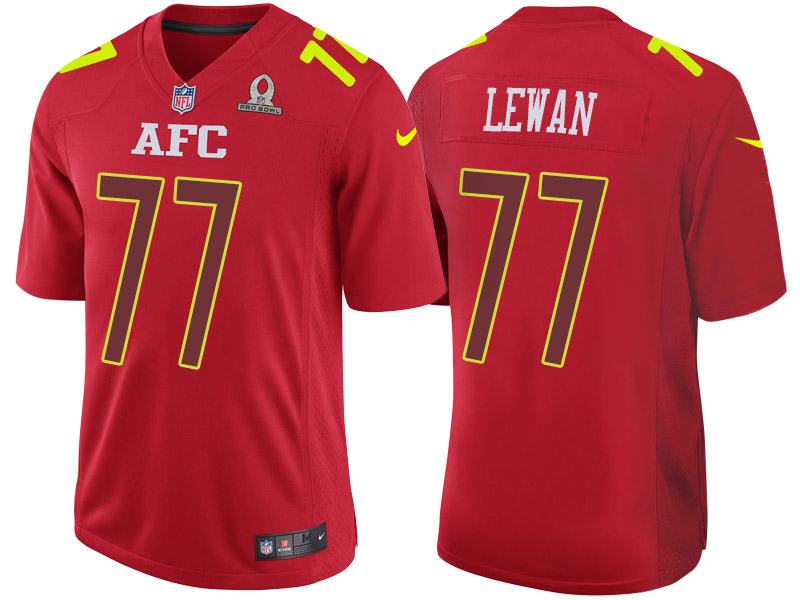 Nike Titans 77 Taylor Lewan Red 2017 Pro Bowl Game Jersey