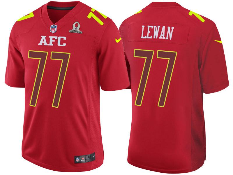 Nike Titans 77 Taylor Lewan Red 2017 Pro Bowl Game Jersey