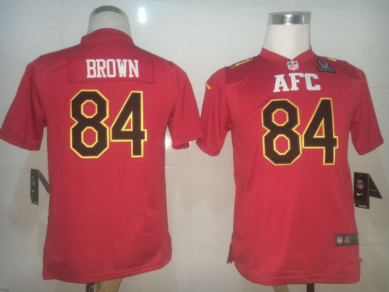 Nike Steelers 84 Antonio Brown Red 2017 Pro Bowl Women Game Jersey